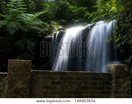 Waterfall nature forest environment scenic stone relaxation
