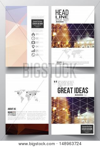 Set of business templates for brochure, magazine, flyer, booklet or annual report. Colorful polygonal background, blurred image, night city landscape, festive cityscape, triangular vector texture.