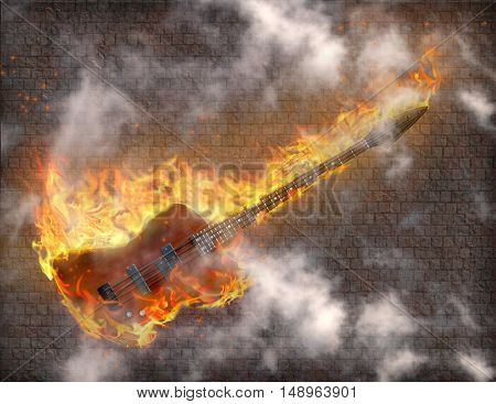 Burning Guitar with smoke against grungy stone wall  3D Render