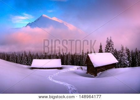 Fantastic pink evening landscape glowing by sunlight. Dramatic wintry scene with snowy house. Carpathians, Ukraine, Europe.
