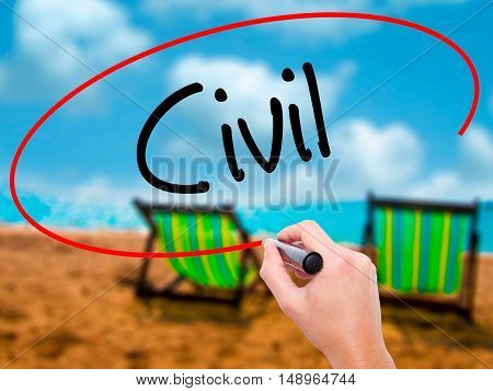 Man Hand Writing Civil With Black Marker On Visual Screen