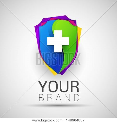 Colorful Medical Secure Logo Creative abstract Modern design Template protection medicine Vector illustration concept.