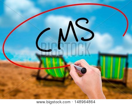 Man Hand Writing Cms (custom Management System) With Black Marker On Visual Screen