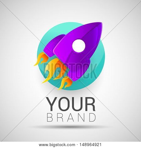 Abstract rocket logo. Startup design template. Editable for your business company. Symbols shapes innovative and creative inspiration purple turquoise color.