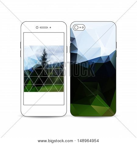 Mobile smartphone with an example of the screen and cover design isolated on white background. Colorful polygonal backdrop, blurred natural background, modern stylish triangle vector texture.
