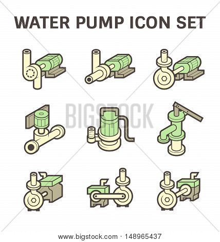 Water pump vector icon sets isolated on white background.