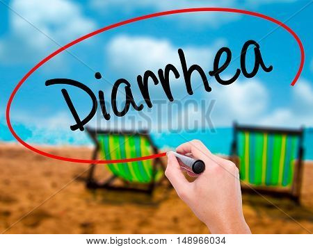 Man Hand Writing  Diarrhea  With Black Marker On Visual Screen