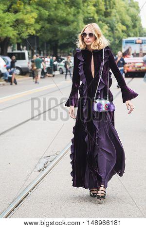 Fashionable Woman Posing During Milan Fashion Week