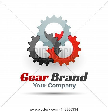 Gear Vector Template Color Logo. Creative colorful abstract vector design illustration. Template for your business company. Red and gray.