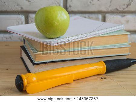 Apple large souvenir pen on books and notebooks, concept study.
