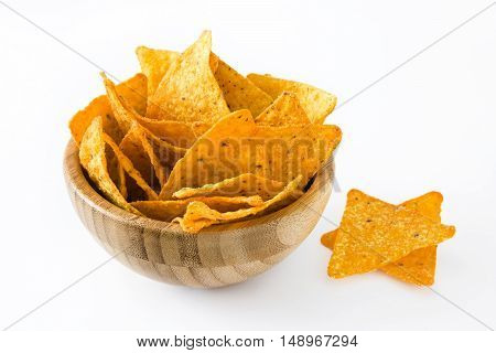 Nachos in a bowl isolated on white background