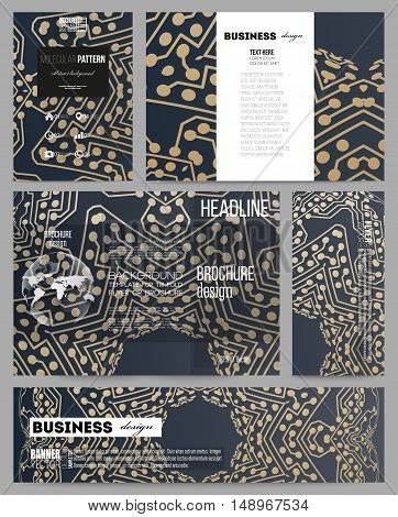 Set of business templates for presentation, brochure, flyer or booklet. Golden microchip pattern, abstract template with connecting dots and lines, connection structure. Digital scientific background