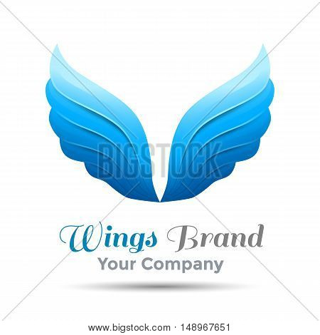 Wings logo template. Vector business icon. Corporate branding identity design illustration. for your company. Creative abstract colorful concept.