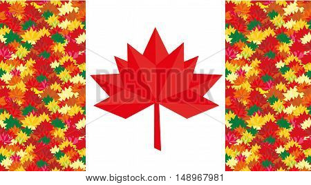 Flag Canada vector Maple Leaf Flat style Canadian flag with abstract maple leaves Abstract