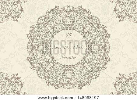 Card or wedding invitation with mandala pattern.Vector vintage hand-drawn highly detailed round mandala elements. Luxury lace festive ornament card. Islam Arabic Indian Turkish Ottoman motifs.