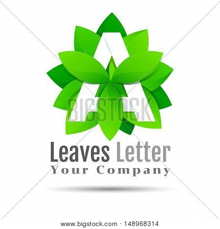 Green eco letters A logo with leaves. symbol alphabet botanical natural. Vector design illustration. Template for your business company. Creative abstract concept.