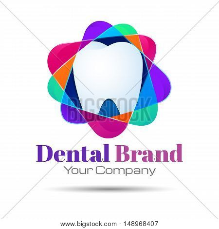 Design teeth logo element. Crushing abstract pattern. Colorful icons set. Vector illustration. Template for your business company. Creative concept.