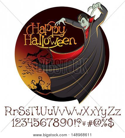 Cartoon Dracula vector. Halloween font set.