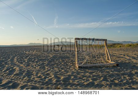 Football goals on the beautiful sandy beach