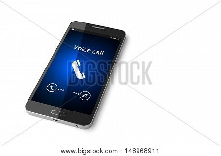 Smartphone with incoming call on display. 3D illustration