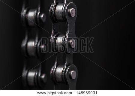 Metal Bicycle Chain. Closeup