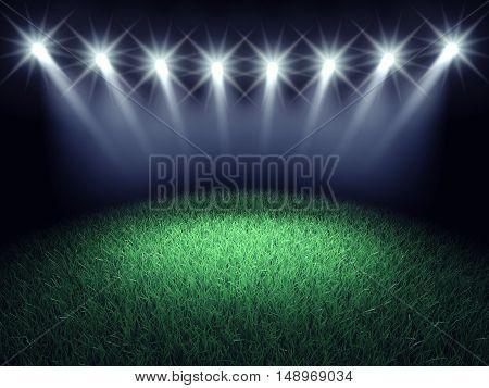 Sports arena spotlights and turf , Stadium grass , 3d illustration