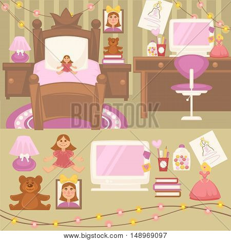 Set of furniture for girls. Design of bedroom. Pink color room: lamp, mirror and bed. Nursery interior. Cartoon style. Vector isolated illustration