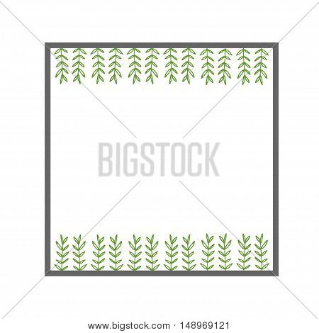 frame. summer background. drawing. green boughs. vector illustration.