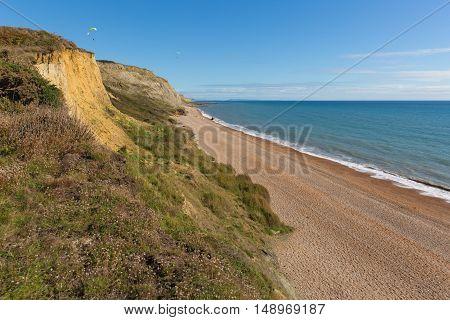 Eype beach Dorset England uk small village on Jurassic coast south of Bridport and near West Bay