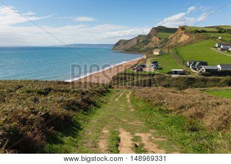 Coast path Eype Dorset England uk small village on Jurassic coast south of Bridport and near West Bay