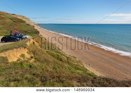 Beach car park view Eype Dorset England uk Jurassic coast south of Bridport and near West Bay