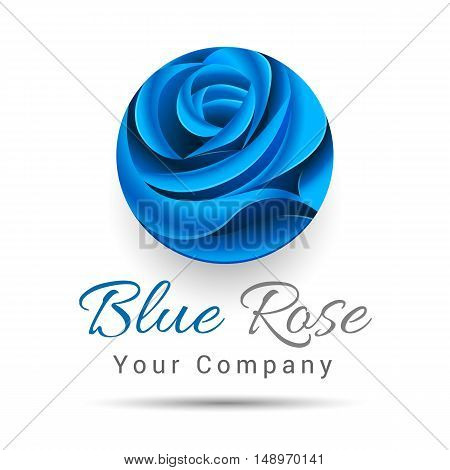 Floral symbol of spa beauty salon or body clinic Logo. Vector Icon. Blue flower logotype. Design illustration. Template for your business company. Creative abstract colorful concept.