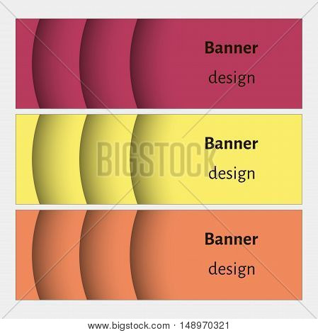 Banner design template. Abstract web banners set with curve elements and shadows. Yellow, red, orange colors. Modern design. Vector illustration.
