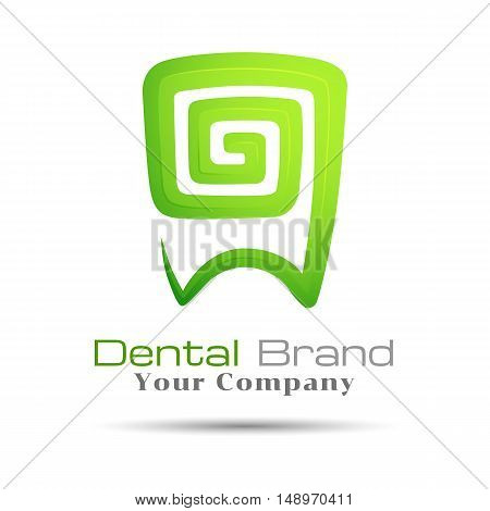 Stylized Tooth Icon logo template green. Vector for dental clinic. design illustration for your business company. Creative abstract colorful concept.