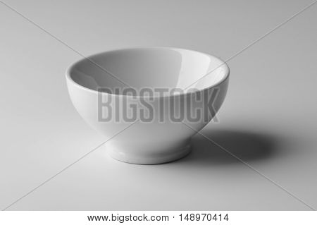 Round Bowl in white porcelain isolated on white