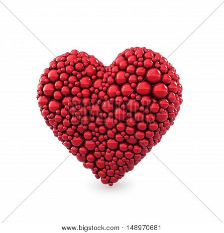 Heart made of red balls isolated on white , Valentine's day , 3d illustration