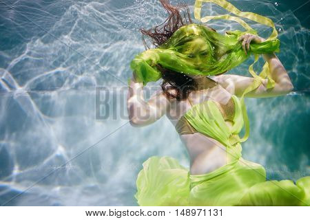 Young woman in yellow-green dress poses in swimming pool underwater with fabric above her face.