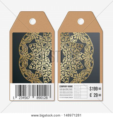 Vector tags design on both sides, cardboard sale labels with barcode. Golden microchip pattern on dark background with connecting dots and lines, connection structure. Digital scientific vector