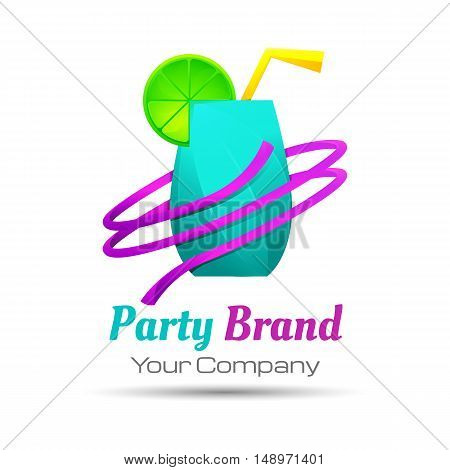 Colorful party cocktail icon. Concept for bar menu alcohol drinks celebration holidays. Vector logo design illustration. Template your business company. Creative abstract.