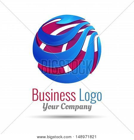 Abstract vector sign in sphere shape. Logo for Business Media Technology. Design illustration. Template for your company. Creative colorful concept.