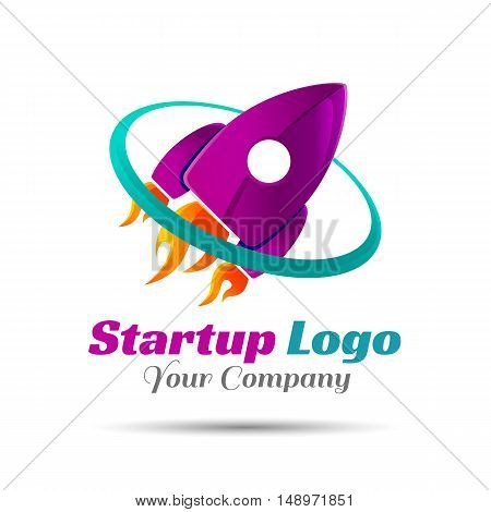 Logo for startup project with inscription Accelerator. Vector design illustration. Template for your business company. Creative abstract colorful concept.