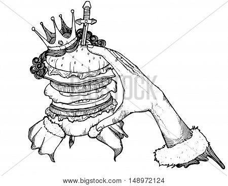 Burger with jumbo size illustrations black and white