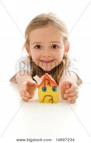 Ecstatic Little Girl With Her Clay House