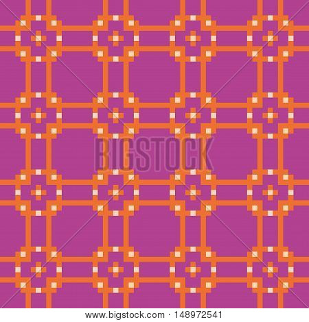 Bright geometric seamless stitching pattern on a lilyk background. Pixel art. Vector illustration