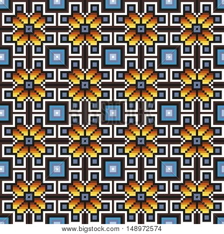Floral seamless stitching pattern in desaturated colors. Pixel art. Vector illustration