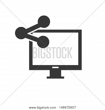 screen monitor computer device with share icon silhouette. vector illustration