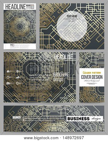 Set of business templates for presentation, brochure, flyer or booklet. Golden technology pattern on dark background with connecting lines and dots, connection structure. Digital scientific vector.