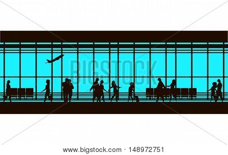 vector illustration of the airport building waiting room large picture window people silhouettes mourners horizontal poster