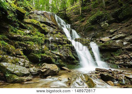 Beautiful Waterfall Of Mountain River