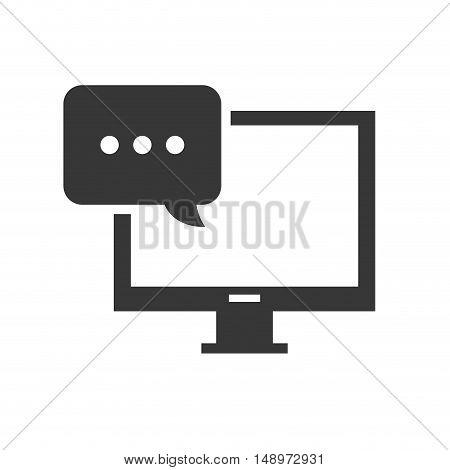 screen monitor computer device with speech bubble icon silhouette. vector illustration